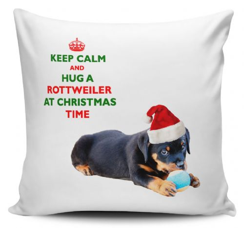 Christmas Keep Calm And Hug A Rottweiler Novelty Cushion Cover